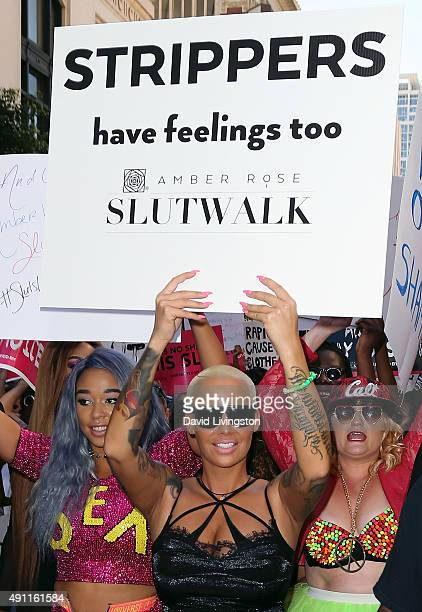 Musical artist Amber Rose attends the Amber Rose SlutWalk LA at Pershing Square on October 3 2015 in Los Angeles California