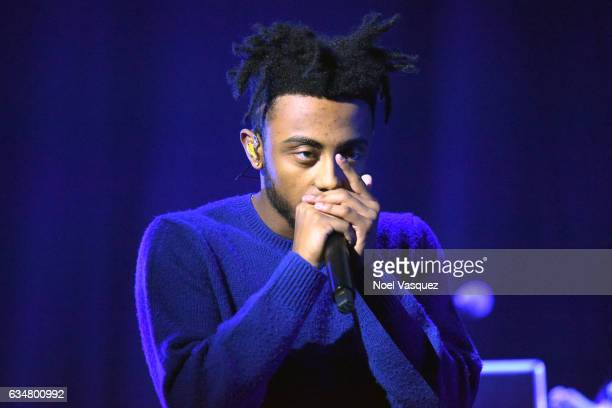 Musical artist Amine performs onstage at Sir Lucian Grainge's 2017 Artist Showcase presented by American Airlines and Citi at Ace Hotel on February...