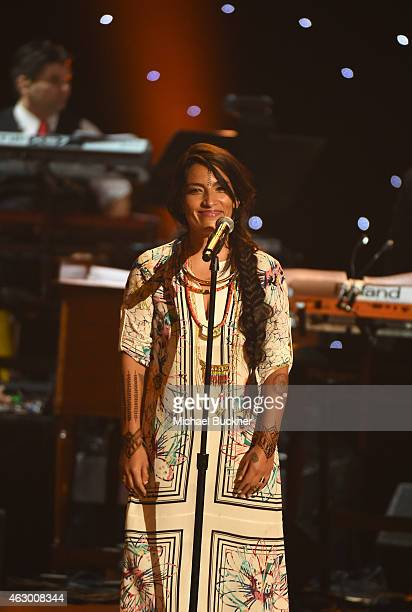 Musical artist Ana Tijoux performs onstage at the Premiere Ceremony during The 57th Annual GRAMMY Awards at the Nokia Theatre LA LIVE on February 8...