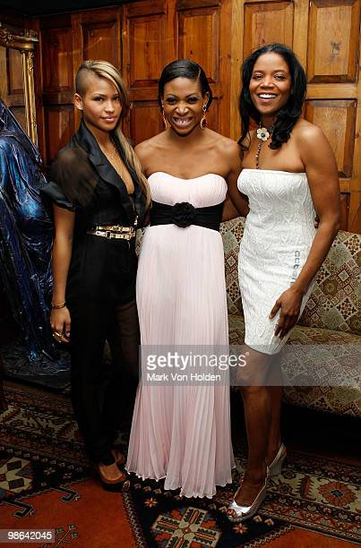 """Musical artist Cassie, celebrity activist Suzanne """"Africa"""" Engo and founder of the Urban yoga foundation Ghylian Bell attend the I Love Africa..."""