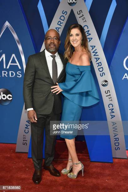 Musical artist Darius Rucker and Beth Leonard attend the 51st annual CMA Awards at the Bridgestone Arena on November 8 2017 in Nashville Tennessee