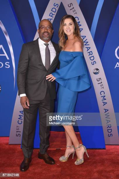 Musical artist Darius Rucker and wife Beth Leonard attend the 51st annual CMA Awards at the Bridgestone Arena on November 8 2017 in Nashville...