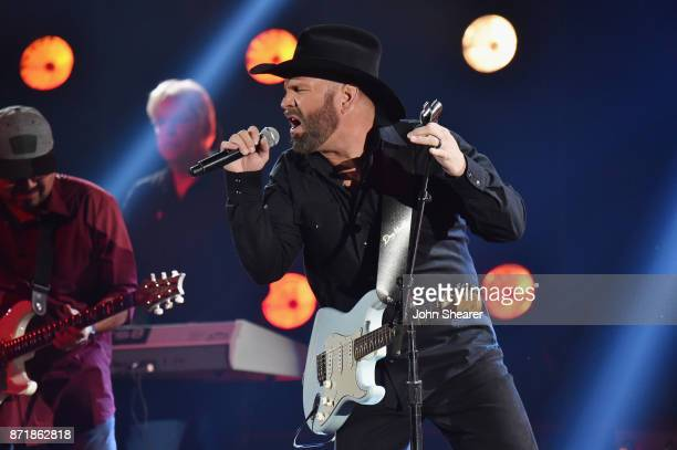 Musical artist Garth Brooks performs onstage at the 51st annual CMA Awards at the Bridgestone Arena on November 8 2017 in Nashville Tennessee