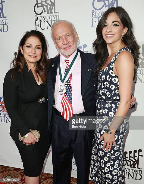 Musical artist Gloria Estefan astronaut Buzz Aldrin and actress Ana Villafane attend the 31th Annual Great Sports Legends Dinner to benefit The...