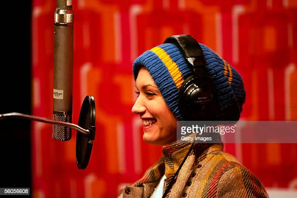Musical artist Gwen Stefani records the Tsunami relief charity single a cover of the Sir Eric Clapton ballad 'Tears In Heaven' at a Los Angeles...