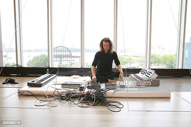 Musical artist John Kirby sets up before the Collina Strada presentation during MADE Fashion Week Spring 2015 at The Standard Hotel on September 9...