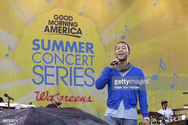 """Musical artist John Legend performs on ABC's """"Good Morning America"""" at Rumsey Playfield, Central Park on June 5, 2009 in New York City."""