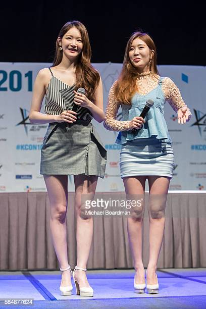 Musical artist Kang Minkyung and Lee Haeri of the band Davichi host a meet and greet with fans at the KCON LA 2016 at LA LIVE on July 29 2016 in Los...