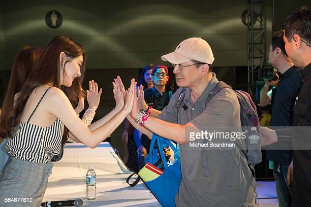 Musical artist Kang Minkyung Lee Haeri of the band Davichi host a meet and greet with fans at the KCON LA 2016 at LA LIVE on July 29 2016 in Los...