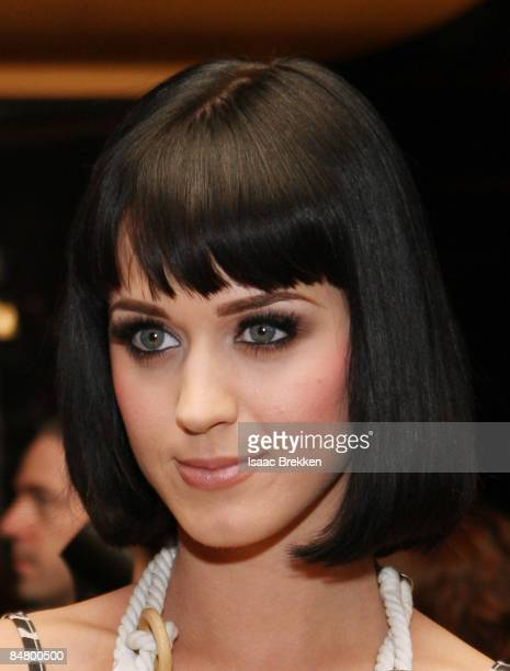 Musical artist Katy Perry unveils a memorabilia case presented during a dedication ceremony inside the Hard Rock Hotel Casino February 14 2009 In Las...