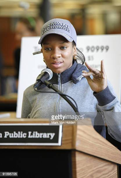 Musical artist Lil' Mama speaks at Jump Start's 'Read for the Record' event at Brooklyn Public Library's Central Library on October 8 2009 in the...