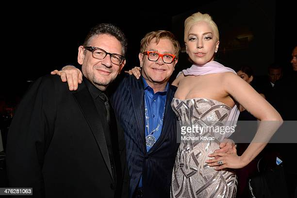 Musical Artist Lucian Grainge recording artist Sir Elton John and singer Lady Gaga attend the 22nd Annual Elton John AIDS Foundation Academy Awards...