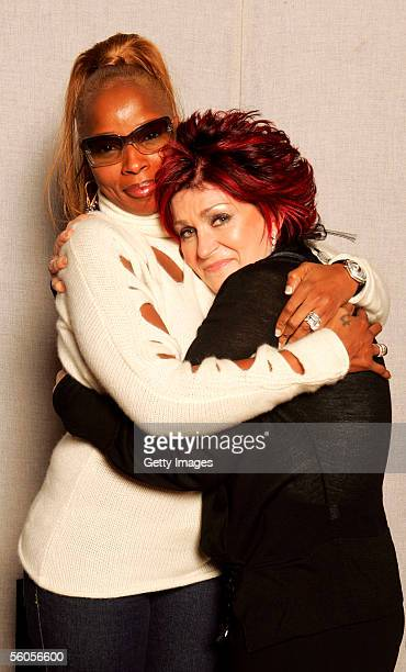 Musical artist Mary J Blige and Sharon Osbourne pose for a portrait to promote the Tsunami relief charity single a cover of the Sir Eric Clapton...