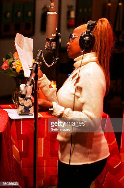 Musical artist Mary J Blige records the Tsunami relief charity single a cover of the Sir Eric Clapton ballad 'Tears In Heaven' at a Los Angeles...