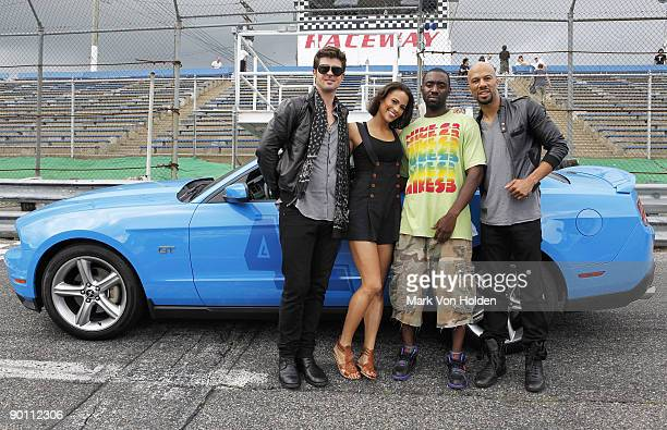 Musical artist Robin Thicke Actress Paula Patton director Juwan Lee and musical artist Common pose for a picture during the taping for Queen...