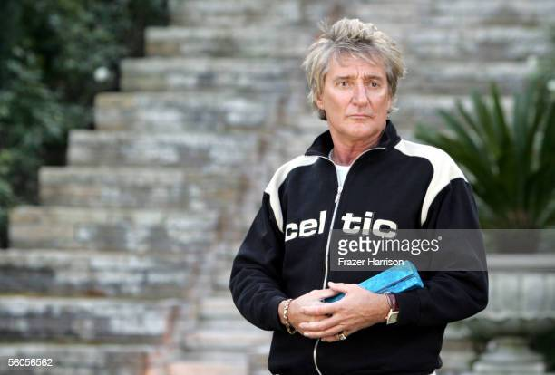 Musical artist Rod Stewart signs the symbolic blue brick as he records his contribution to the disaster relief charity single a cover of the Sir Eric...