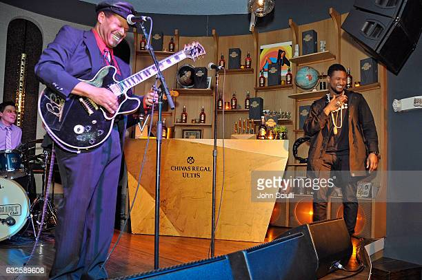 Musical artist SaRon Crenshaw and singer/songwriter Usher perform onstage during the Chivas Regal Ultis Hosted Celebration Honoring Adam and Scooter...