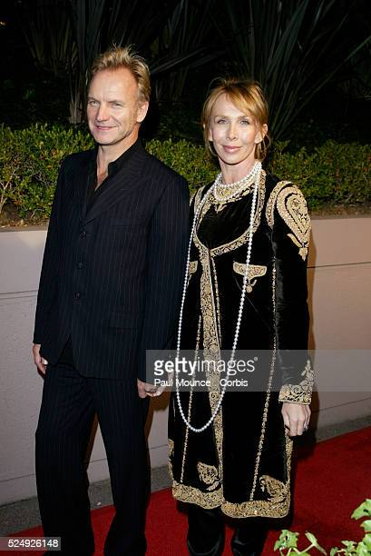 Musical Artist Sting and wife Trudi Styler arrive at the Miramax PreOscar 2004 Max Awards party at the StRegis Hotel