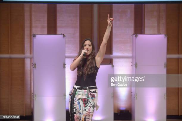 "Musical artist Tennille Amor performs onstage during Glamour's ""The Girl Project"" on the International Day of the Girl on October 11, 2017 in New..."