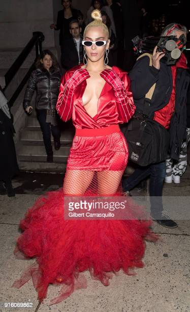 Musical artist Veronica Vega is seen arriving to Tom Ford Women's Fall/Winter 2018 fashion show during New York Fashion Week at Park Avenue Armory on...