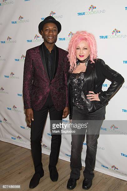 Musical artists Aloe Blacc and Cyndi Lauper attend the True Colors Fund 6th Annual Home For The Holidays Concert at Beacon Theatre on December 3 2016...