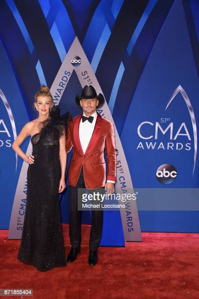 Musical artists Faith Hill and Tim McGraw attend the 51st annual CMA Awards at the Bridgestone Arena on November 8 2017 in Nashville Tennessee