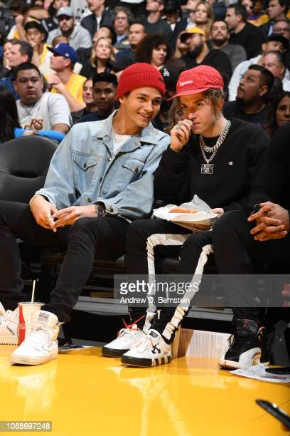 Musical artists Jonah Marais and Jack Avery attend a game between the Minnesota Timberwolves and Los Angeles Lakers on January 24 2019 at STAPLES...