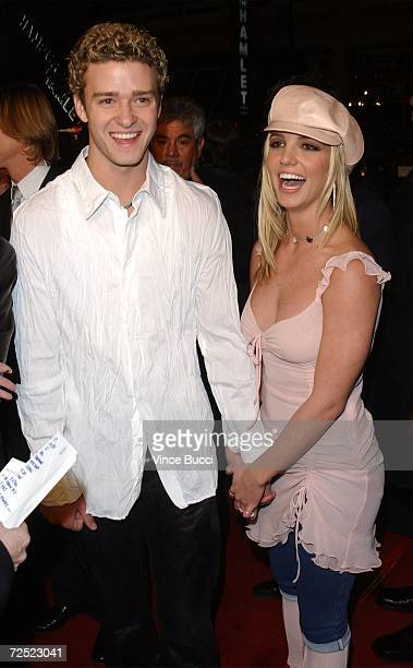 Musical artists Justin Timberlake and girlfriend Britney Spears attend the premiere of the film 'Crossroads' February 11 2002 in Hollywood CA
