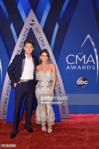 Musical artists Maren Morris and Niall Horan attend the 51st annual CMA Awards at the Bridgestone Arena on November 8 2017 in Nashville Tennessee