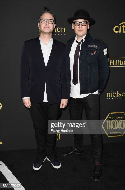 Musical artists Mark Hoppus and Matt Skiba of Blink 182 attends Billboard Power 100 Red Carpet at Cecconi's on February 9 2017 in West Hollywood...