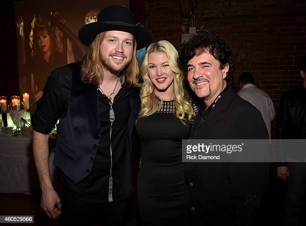 Musical artists Michael Hobby and Ashley Campbell and president and CEO of Big Machine Label Group Scott Borchetta attend the Inaugural Nash Icon ACC...