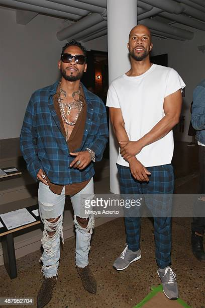 Musical artists Miguel and Common attend the Baja East runway show during Spring 2016 MADE Fashion Week at Milk Studios on September 12 2015 in New...