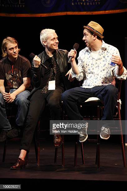 Musical artists Nick Powers Mr Hudson and producer Sam Hollander speak at GRAMMY Career Day at Pace University Michael Schimmel Center for the Arts...