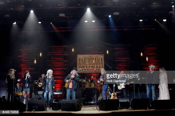 Musical artists perform onstage for the finale during the 2017 Americana Music Association Honors Awards on September 13 2017 in Nashville Tennessee