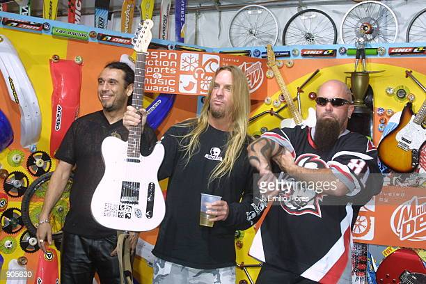 Musical artists Slayer pose backstage during the 2002 ESPN Action Sports Music Awards at Universal Ampitheater April 13 2002 in Universal City CA