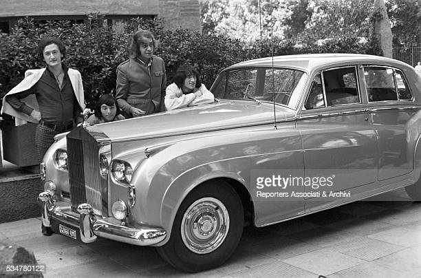 Musical band Equipe 84 posing next to a RollsRoyce Italy 28th August 1966