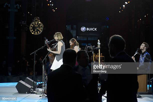 Musical band The Accidentals perform during a General Motors Co Buick event ahead of the 2016 North American Auto Show in Detroit Michigan US on...