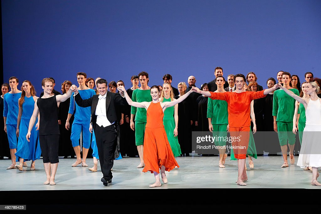 Musical Direction of the show Philippe Jordan, Star Dancer Aurelie Dupont (in orenge C) who performed with others Star Dancers in 'Daphnis et Chloe' show at the AROP Charity Gala. Held at Opera Bastille on May 21, 2014 in Paris, France.