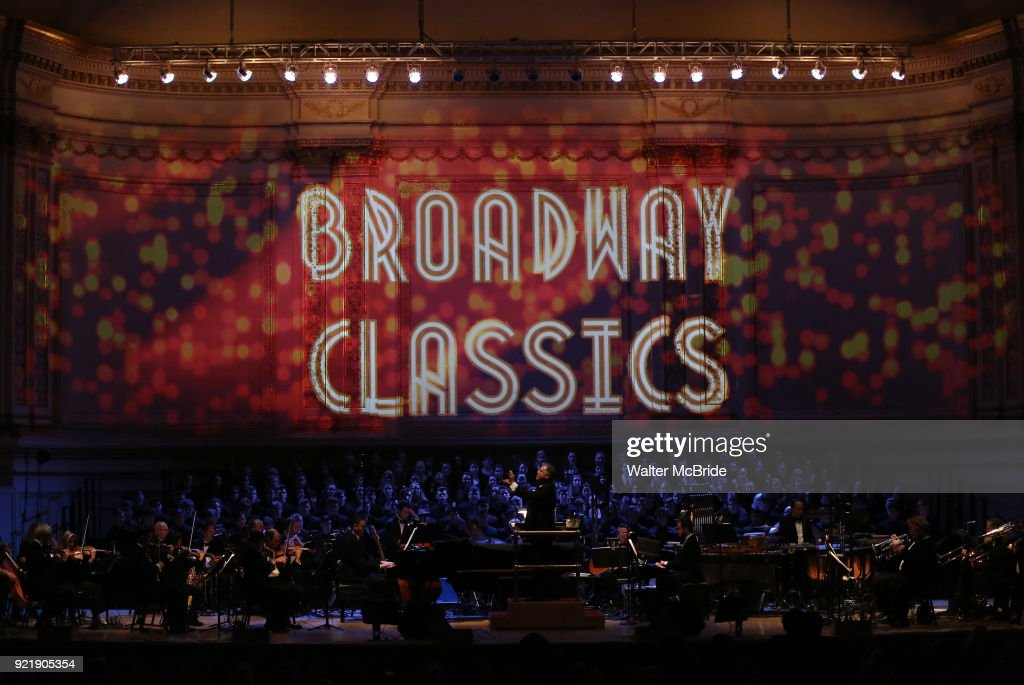 Musical director and conductor Kevin Stites with the orchestra during the Manhattan Concert Productions Broadway Classics in Concert at Carnegie Hall on February 20, 2018 at Carnegie Hall in New York City.