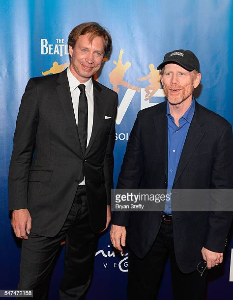 Musical director Giles Martin and director/producer Ron Howard attend the 10th anniversary celebration of 'The Beatles LOVE by Cirque du Soleil' at...
