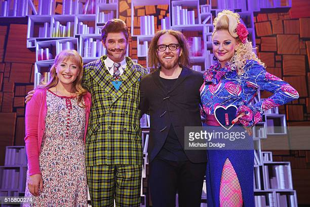 Musical director Tim Minchin poses with cast members Elise McCann Daniel Frederiksen and Marika Aubrey during a media call for Matilda The Musical at...