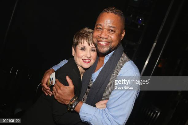 Musical Director/Conductor Leslie Stifelman and Cuba Gooding Jr pose backstage at the hit musical Chicago on Broadway at The Ambassador Theater on...