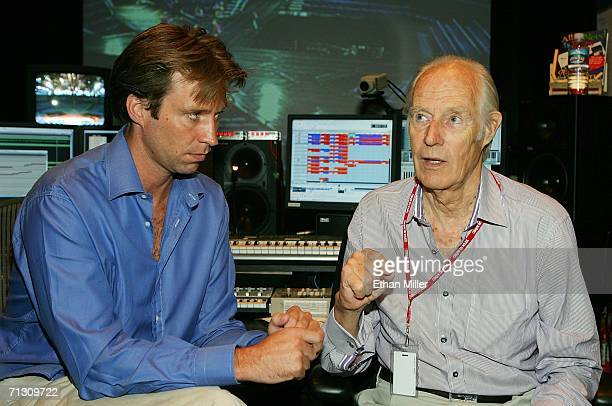 Musical directors Giles Martin and his father Sir George Martin speak during a behindthescenes tour of 'The Beatles LOVE by Cirque du Soleil' at The...