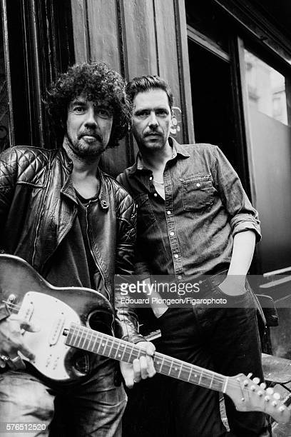 Musical duo Black Minou are photographed for Madame Figaro on May 9 2016 in Paris France Yarol Poupaud Vintage jacket tshirt and jeans Melvil Poupaud...