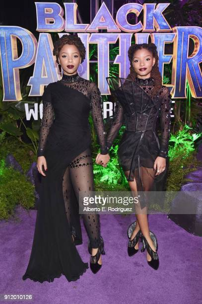 Musical duo Chloe X Halle at the Los Angeles World Premiere of Marvel Studios' BLACK PANTHER at Dolby Theatre on January 29 2018 in Hollywood...