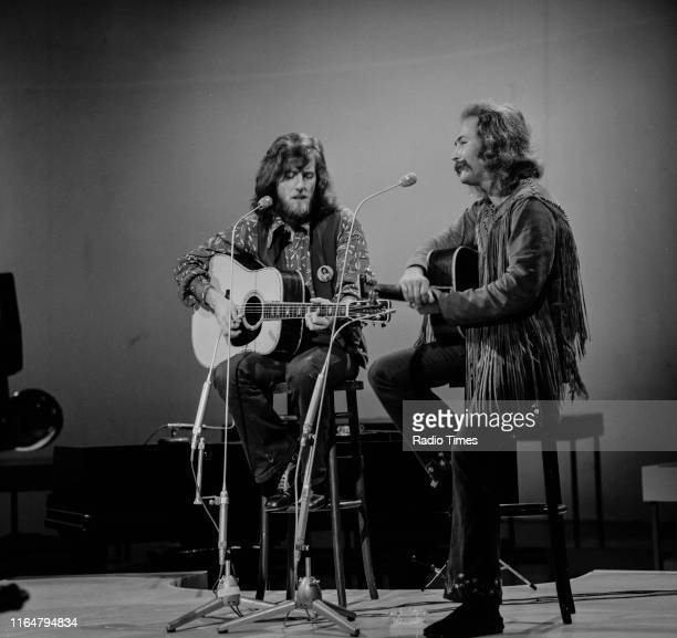 Musical duo Graham Nash and David Crosby performing together for the BBC television series 'In Concert', at BBC Television Studios in London, October...