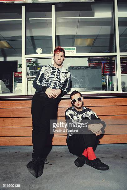 Musical duo Twenty One Pilots comprised of Josh Dun and Tyler Joseph are photographed for Billboard Magazine on October 15 2015 in Los Angeles...