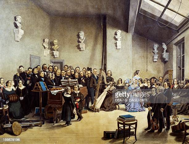 Musical evening at the home of Raphael Merechal Alphonse de Labroue watercolour France 19th century Metz La Cour D'Or Musée D'Art Et D'Histoire