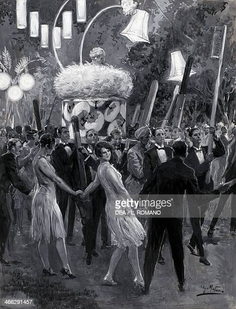 Musical evening in Capri in the 30s illustration by Ugo Matania