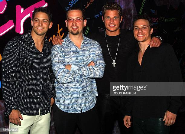 US musical group 98 Degrees poses at the Event to Prevent benefit concert to launch the Candie's Foundation in New York 05 June 2001 The Candie's...